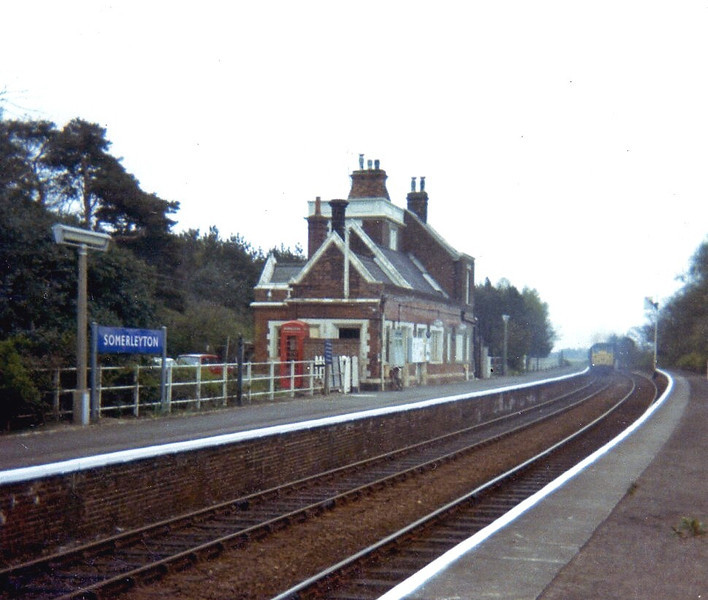 Somerleyton in September 1974 still has British Railways Eastern Region blue nameboard.
