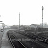 Yarmouth Vauxhall from the end of the platform showing the goods yard/carriage sidings which are now an Asda store.  28th February 1976.
