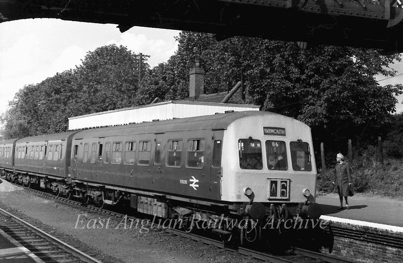 Three car class 101 stands at Reedham on a Yarmouth working. Leading car E50230.  11th September 1975.