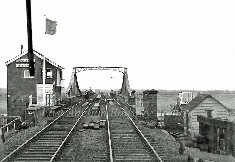 One of the joys of travelling in first generation dmus was the view of the track from each end of the train. This is the view of Somerleyton Swing Bridge from the rear of a Cravens class 105 on a Norwich to Lowestoft working.