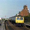 The 1024 Norwich to Lowestoft arrives at Somerleyton on 6th September 1979. In the distance can be seen the swing bridge signal box.