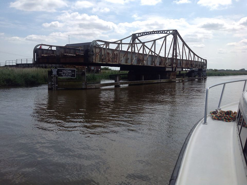 Somerleyton Swing bridge from the river. Photo Wally Webb.