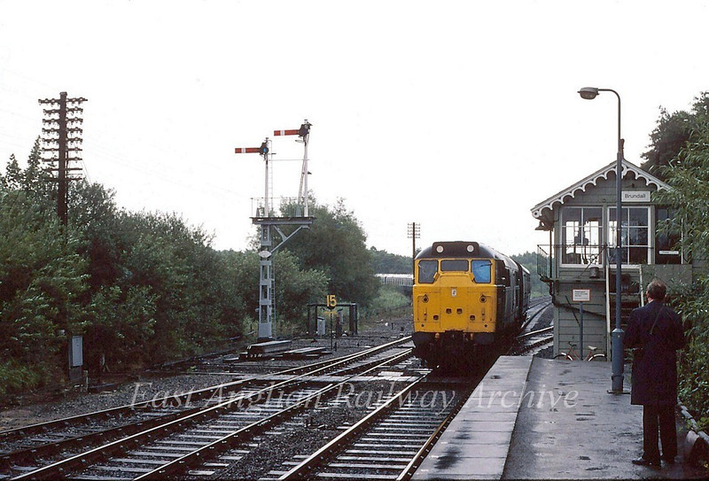 31270 approaches Brundall with the 1243 Yarmouth to Leeds.  30th August 1980
