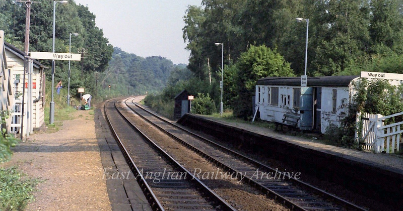 Brundall gardens Halt between Norwich and Brundall. Note old carriage body used as a waiting room.  6th September 1979