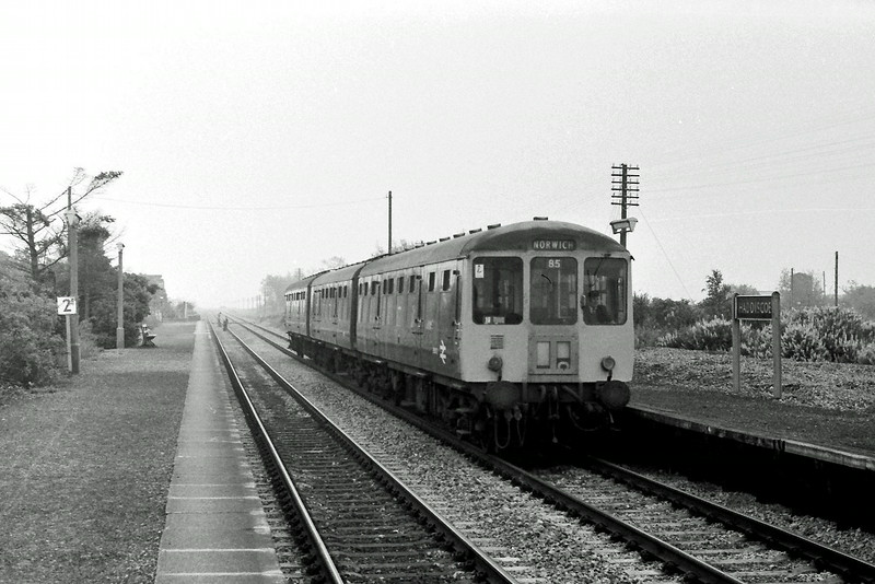 The 0937 Lowestoft to Norwich at Haddiscoe on 14th June 1977.