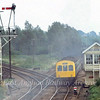 Whitlingham Junction, Norwich in September 1981 with the line to Sheringham to the left. A class 101 on a Yarmouth to Norwich working is passing the box. Unfortunately someone decided to light a bonfire just as I had set up my 200m lens.
