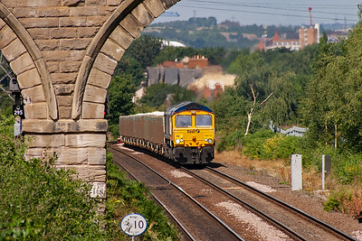 The change in gradient is most noticeable as GBRf 66712 lifts 6L45 MWO 0847 Rylestone Quarry to Whitemoor loaded stone train past Oakenshaw Junction.