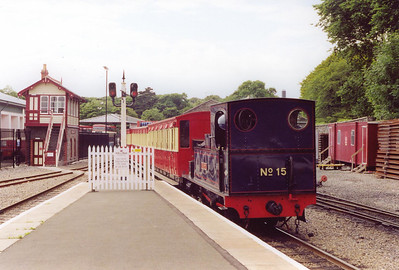Back on the Isle of Man and things have changed at Douglas and on the Railway as a whole.  Dubs built 0-6-0 Caledonina arrives at Douglas station with a train from Port Erin, 1415 off and after two years things look different.  22/7/2001