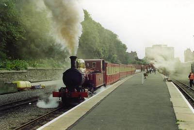 No 11 makes a fuss of its departure from Douglas at 1000 with the first train to Port Erin.  26/7/2001