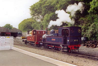 No 15 drags out No 10 GH Wood out of Douglas shed. It will be in use for the next few days while No 15 is being worked upon.  22/7/2001