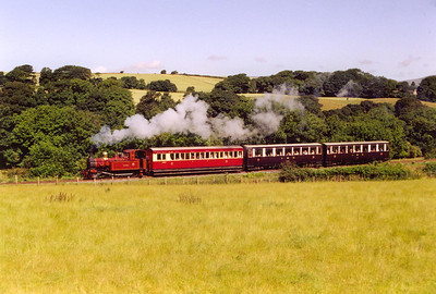 No 10 works the second train from Douglas, seen in the sun near Ellenbrook with purple and brown and carmine and cream liveried stock. It is lightly loaded to just three bogies.