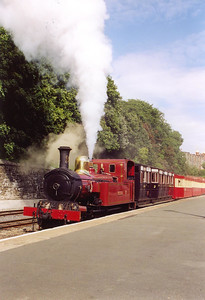 No 12 Hutchison blows off at 160psi, whilst the train is still in Douglas station. The train has a problem which is preventing it from departing to Port Erin with the 1620 service.