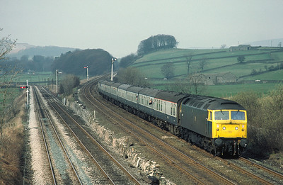 47405 with Glasgow Nottingham train at Settle Jct 	3/4/82