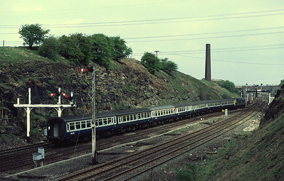 47503 passing Goose Hill Junction, Normanton with diverted 10.45 Chester Scarborough  7/5/83