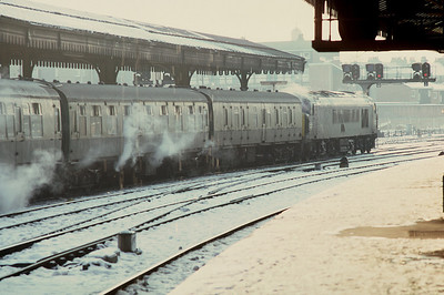 The passengers will appreciate the steam heat: 45026 on a relief service to Plymouth at York  23/12/81