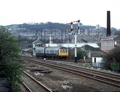 Class 108 DMU passing Guisley Jct, Shipley with Bradford Ilkley train 10/4/82