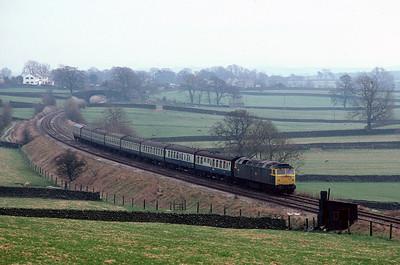 47268 Nottingham Glasgow (1230 ex Leeds) between Long Preston and Settle Jct 3/4/82