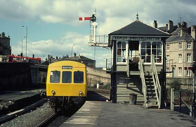 Class 101 DMU passing Shipley Bingley Jct box Keighley Bradford service April 1982