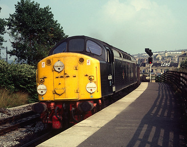 40106 at Shipley with freight for Settle-Carlisle 8/9/81  40106 was never painted into BR Blue