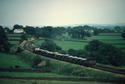 Class 25 on an Eastbound Ballast train at Long Preston 6/9/84