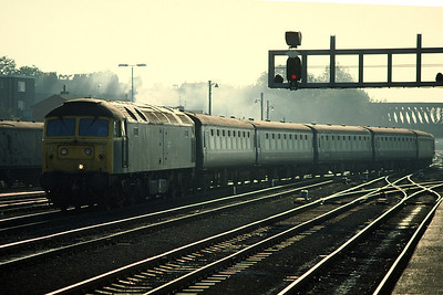 47039 with Manchester Scarborough (15.40 ex York) entering York 22/10/83