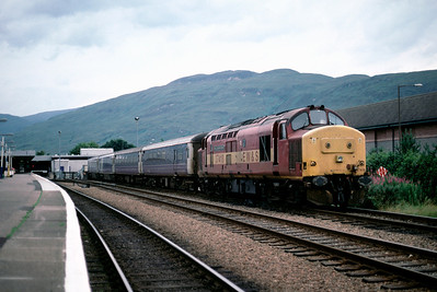 37418 at Fort William with sleeper stock	August 2001