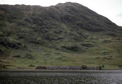 37402 running along Loch Eilt 10.25 Mallaig to Fort William1/9/92