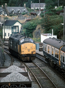 37419 running round at Kyle of Localsh - note the Observation car at the rear of the train 30/8/86