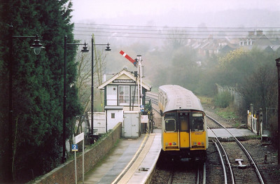 Wateringbury is the location for class 508 EMU 508201 working 2T32 1004 off Stroud to Paddock Wood passing the 1893 South Eastern Railway built Saxby and Farmer type 12 signalbox with the Up starter on a rail made signal post.
