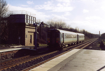 A normal class 2 working gets away from Appleby with 156481 working 2H85 0925 SO Carlisle to Leeds. The former Midland Railway water crane was moved from Lazonby and put back to work for steam specials.