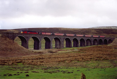 47789 and its seven mkII Virgin coaches cross over Dandry Mire Viaduct heading north.