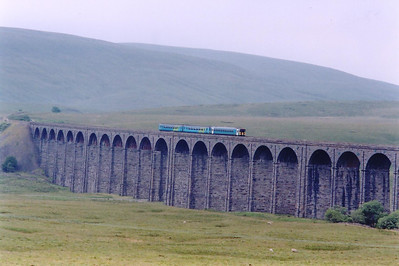 153319 and 156490 return from Carlisle back to Leeds with 2H89 1154 off and crosses the Ribblehead Viaduct.