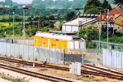 Parked up in its own secure compound at STJ on the site of the former  diesel depot is a former class 121 DMU.  960201 is the Tunnel Rescue Train and would be used in the event of an emergency or problem within the 4 mile 628 yard long tunnel.