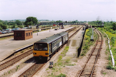 Pacer unit 143618 departs the station at STJ having bounced its way from Bristol Temple Meads to Cardiff Central, it left at 1220.