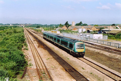 Central Trains Turbostar 170103, in a new version of their livery, speeds north on the Gloucester line with 1M56 0850 off Cardiff Central to Nottingham.  The train is not booked to stop here.