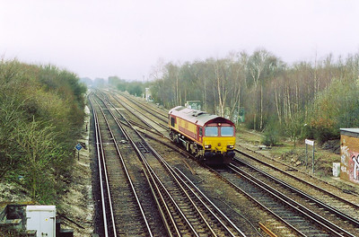 EWS 66104 has appeared off the Salisbury line running light engine from Ludgershall to somewhere as 0Y44.  It had earlier gone to Ludgershall from Didcot as 6O19 0729 off so may well be heading back to Didcot