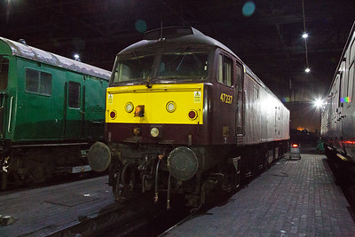 West Coast Railways 47237 sits under the shed roof shut down.  The wind blows through the shed and it can get very cold indeed.