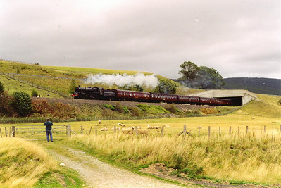 From Blair Athol to Dalwhinnie the track is double over the summit at Druimuachdar. Here John Lynch records 75014 emerging from below the new A9 road bridge over the railway near Calvine.
