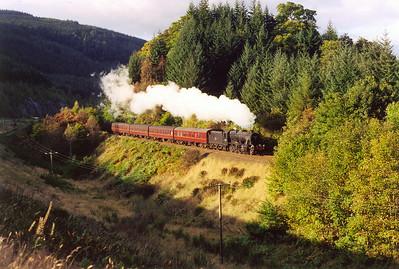 To the north of Dunkeld by the Hermitage, the line and road run close by again. A brief patch of sunshine lights up the line as 48151 runs through with steam on.