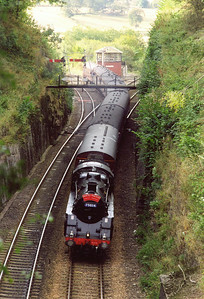 The train rolls off the Newburgh branch onto the former Caledonian main line at Hilton Junction. It will dive into Moncrieff Tunnel and run into Perth for a water stop.