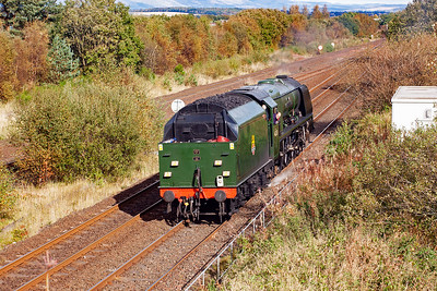 A month after seeing 46233 on shed at the Crewe Heritage Centre, here the loco is in action on the mainline. It worked a tour from Wolverhampton, with the steam loco coming on at Carnforth, to Stirling. Here it runs tender first to Greenhill Upper Junction as part of the turning process.  Fireman Neil Woods looks out for the signals.  6/10/2012