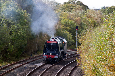 Steam is off now and the loco will coast to the signal.