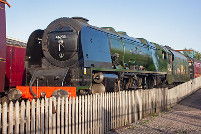 """Recently overhauled """"Duchess of Sutherland"""" has been turned out in BR green with early crest, being in a BR livery it carries its BR number of 46233. The loco looks just stunning in its BR guise after so many years in LMS livery. 5/9/2012"""