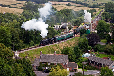 Looking towards the beautiful little station at Corfe Castle and 76079 gets way for Swanage. Also departing is 73129 on 2N21 1545 Harmans Cross to Norden shuttle.