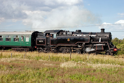 A closer look at the resident 2-6-4T loco as it passes by the field between Norden and Corfe.