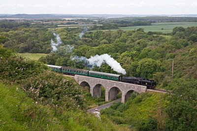 Visiting 73129 reappears on a Swanage train, 2S21 1630 off Norden.