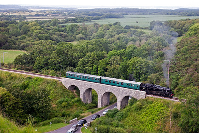 Passing over Corfe Viaduct is 80104 with the 1650 Norden to Harmans Cross shuttle, 2H22.