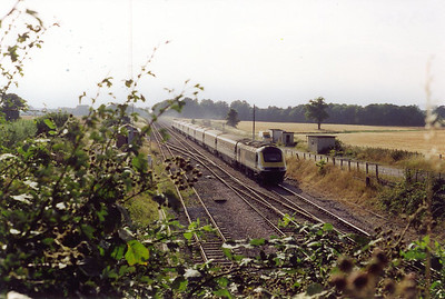"""Due to the speed of the trains, the angle of view and smallish numbers of the powercars, this train is known only by its reporting number 1A76 1345 Penzance to Paddington, the up """"Royal Duchy""""."""