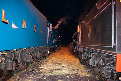 A night time shot of 4464 and 61994 both in steam. This is with the flash.