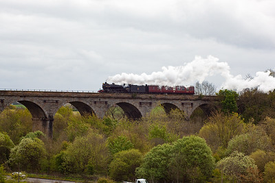 This is the first of three steam workings to pass through Markinch in the space of just over two hours. Ex LNER K4 61994 takes its support coach from Thornton to Inverness as 5Z30 1210 off Thornton shed. 14/5/2012